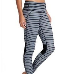 Athleta Relay Tights in black & gray stripes